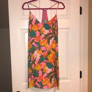 Neon floral print tank dress